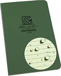 "product image for Rite in the Rain Weatherproof Soft Cover Notebook, 4 5/8"" x 7 1/4"", Green Cover, Universal Pattern (No. 974), 7.25 x 4.625 x 0.375"