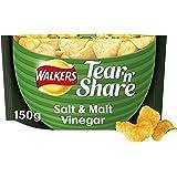 Walkers Tear & Share Salt and Malt Vinegar Thicker Cut Crisps, 150 g (Pack of 6)