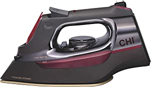CHI Steam Iron with Retractable Cord, Titanium Infused Ceramic Soleplate & Over 400 Steam Holes, Professional Grade, Gray (13109),
