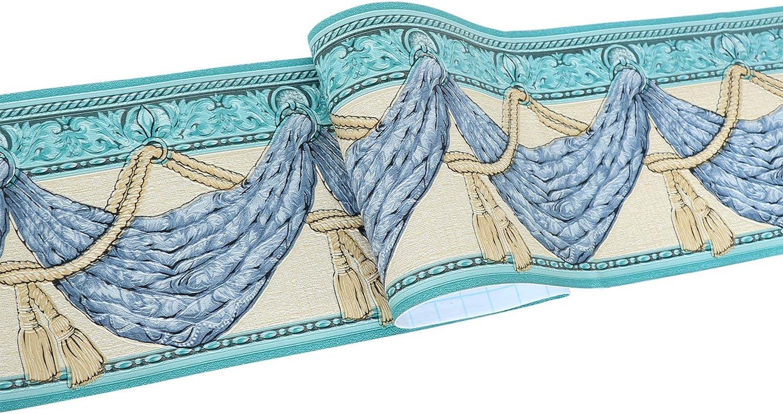 Chambre D/écoration Murale Salle de Bains Plafond Salon Yoillione Frise Murale Adhesive Bleu Frise Adhesive 3d Bordure Papier Peint Frise Autocollante Verte /étanche pour Cuisine