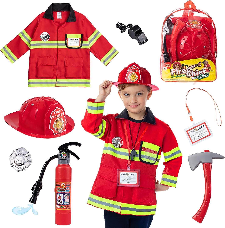 Born Toys (8 Disfraz de Bombero Lavable y Accesorios para Bomberos con un extintor de Tiro con Agua Real Ideal para Halloween