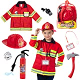 (8 PC Premium Washable Fireman Costume and Firefighter Accessories with Real Water Shooting Extinguisher Great for…