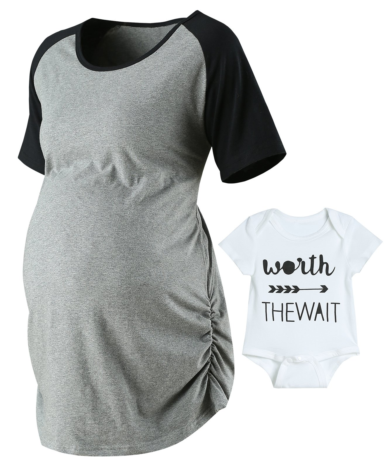 Lorjoy Women's Raglan Sleeve T-Shirt Summer Side Ruched Maternity Tops Fitted Pregnancy Clothes (XL)