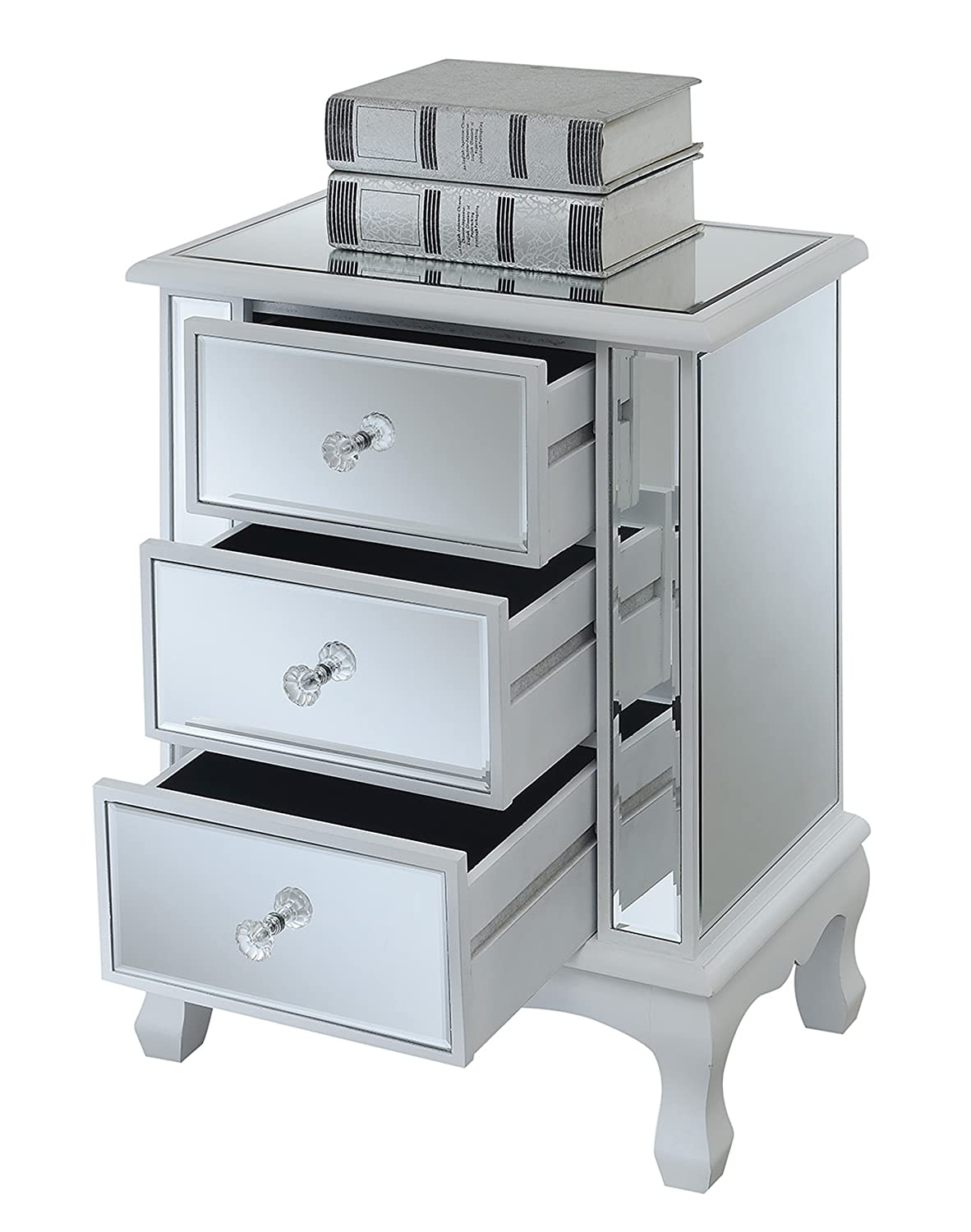 Convenience Concepts Gold Coast Collection 3-Drawer Mirrored End Table Weathered White//Mirror 413359WW