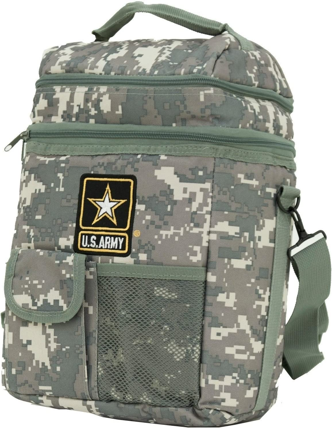 Insulated Lunch Bag Cooler 12 Can Shoulder Strap Dual Compartment Official U.s.Army Camo Cooler Support Our Troops