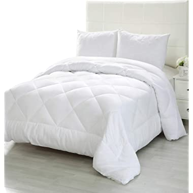 Utopia Bedding Comforter Duvet Insert - Quilted Comforter Corner Tabs - Plush Siliconized Fiberfill, Box Stitched Down Alternative Comforter, Machine Washable (White, Queen)