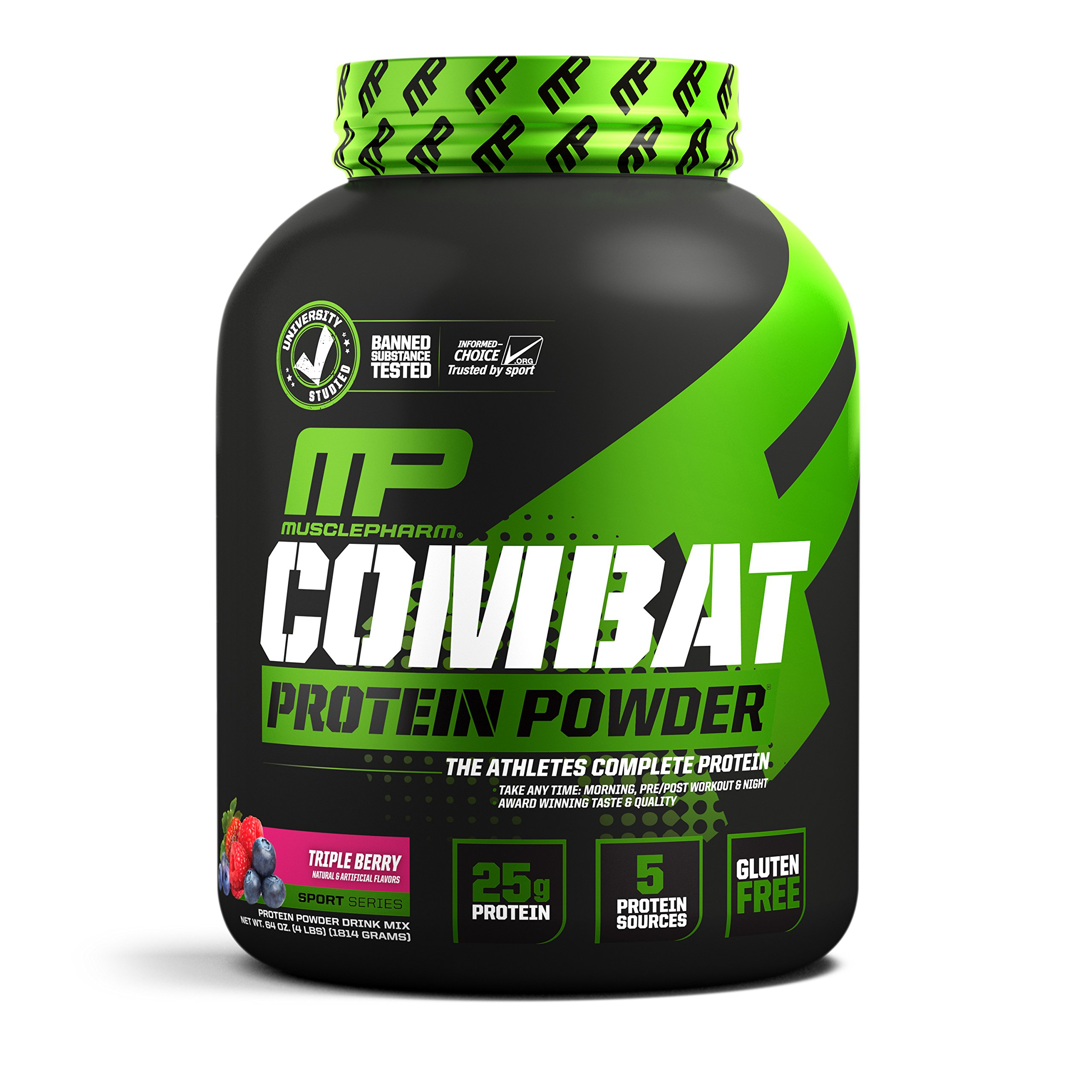 MusclePharm Combat Protein Powder, Essential Whey Protein Powder, Isolate Whey Protein, Casein and Egg Protein with BCAAs and Glutamine for Recovery, Triple Berry, 4-Pound, 54 Servings by Muscle Pharm