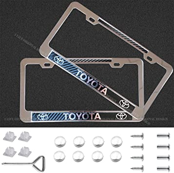 Silver BMW Goodcover 2pcs Silver Metal Stainless Steel Carbon Fiber Texture License Plate Frame for BMW,Applicable to US Standard BMW Tag License Frame