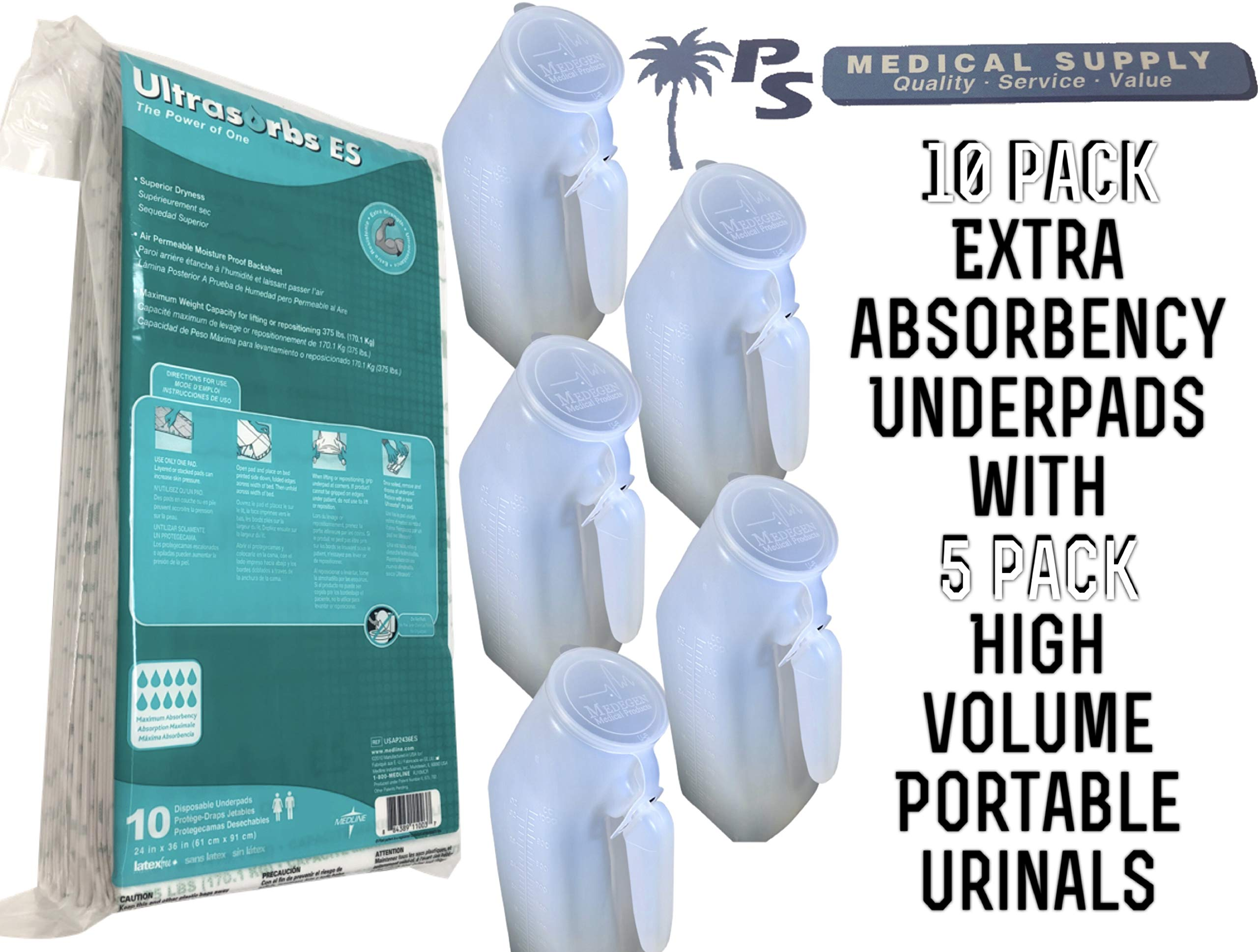 Bedside Table Portable Male High Capacity Urinal System 1000mL (5 Pack) with ExtraAbsorbency Disposable Underpads 24x36 (10 Pack)