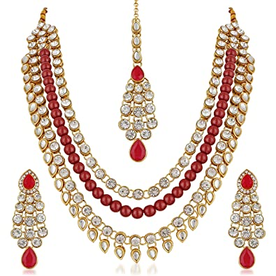 Buy Meenaz Fashion Jewellery Gold Plated Kundan Pearl Ruby Fancy