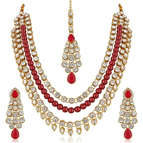 Tikka Terrific Value Fashion Jewelry The Cheapest Price New Gold Plated Bridal Set Of Kundan With Pearl In Multi Color Earrings Jewelry & Watches