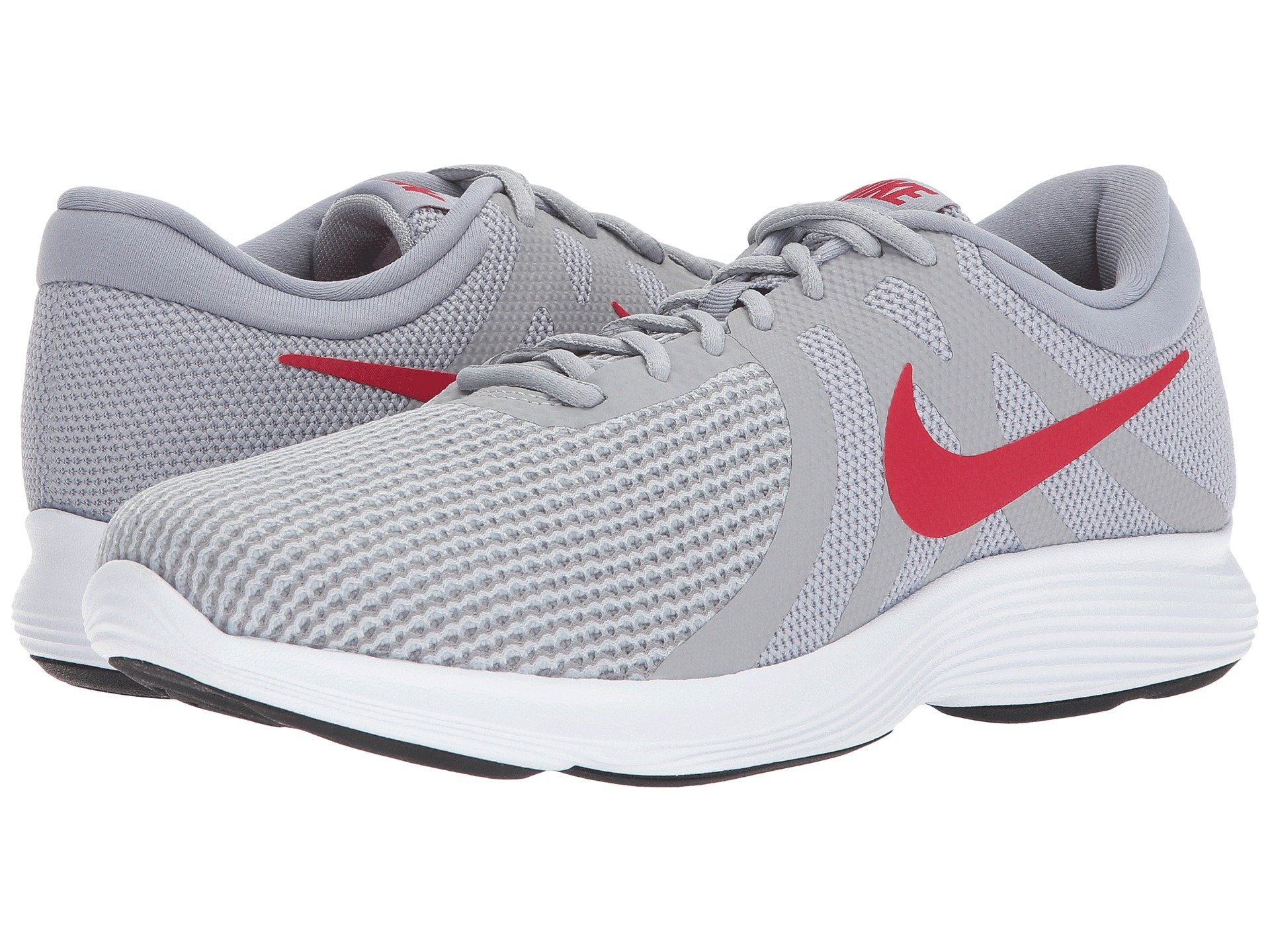 NIKE Men's Revolution 4 Running Shoe Wolf Grey/Gym Red/Stealth/White Size 8.5 M US