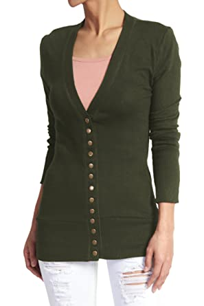 TheMogan Women s Snap Button V-Neck Long Sleeve Knit Cardigan Army Green S 8bcb7d4c8