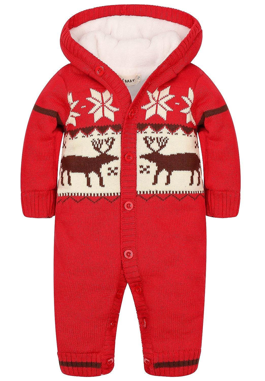 ZOEREA Toddler Newborn Baby Romper Jumpsuit Long Sleeve Christmas Knitted Sweater Xmas Jumper Sweatshirt Hoodie for 0-18 Months Baby Kids YS2086