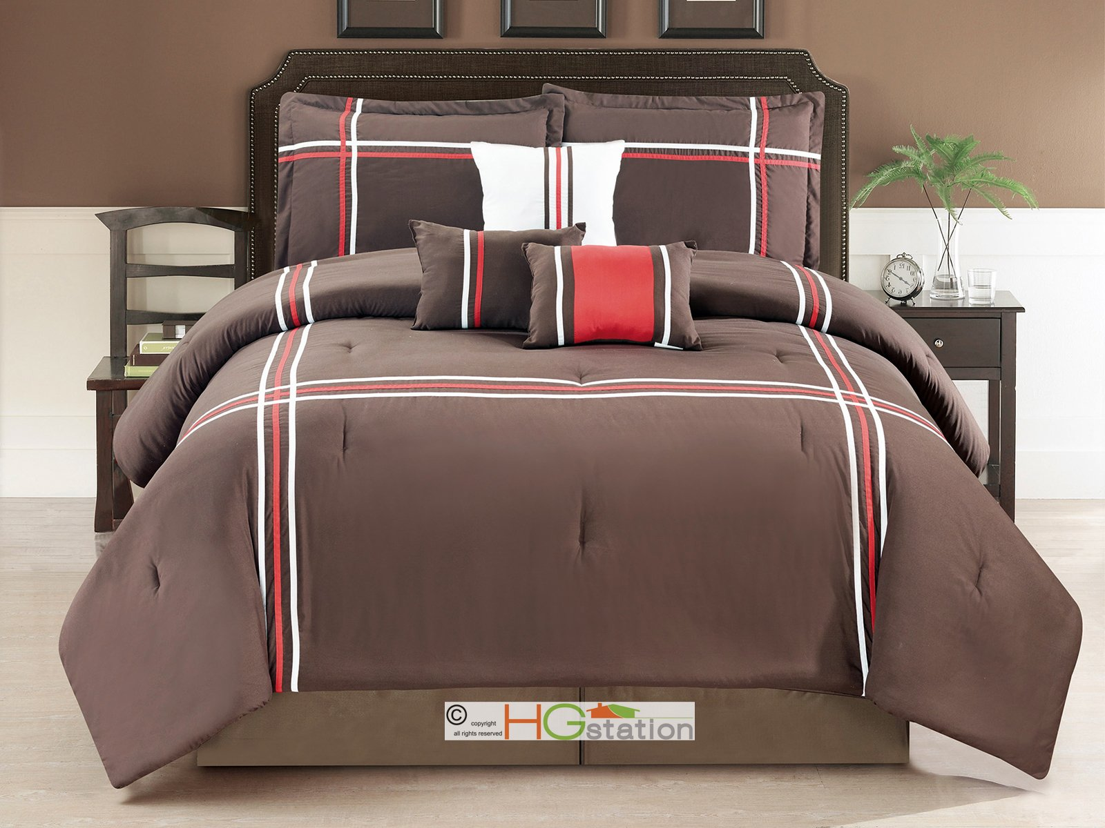7-Pc Striped Bordered Patchwork Window Comforter Set Coffee Brown Red White Queen