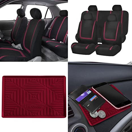 FH GROUP FB032114 Unique Flat Cloth Full Set Car Seat Covers W Silicone Anti