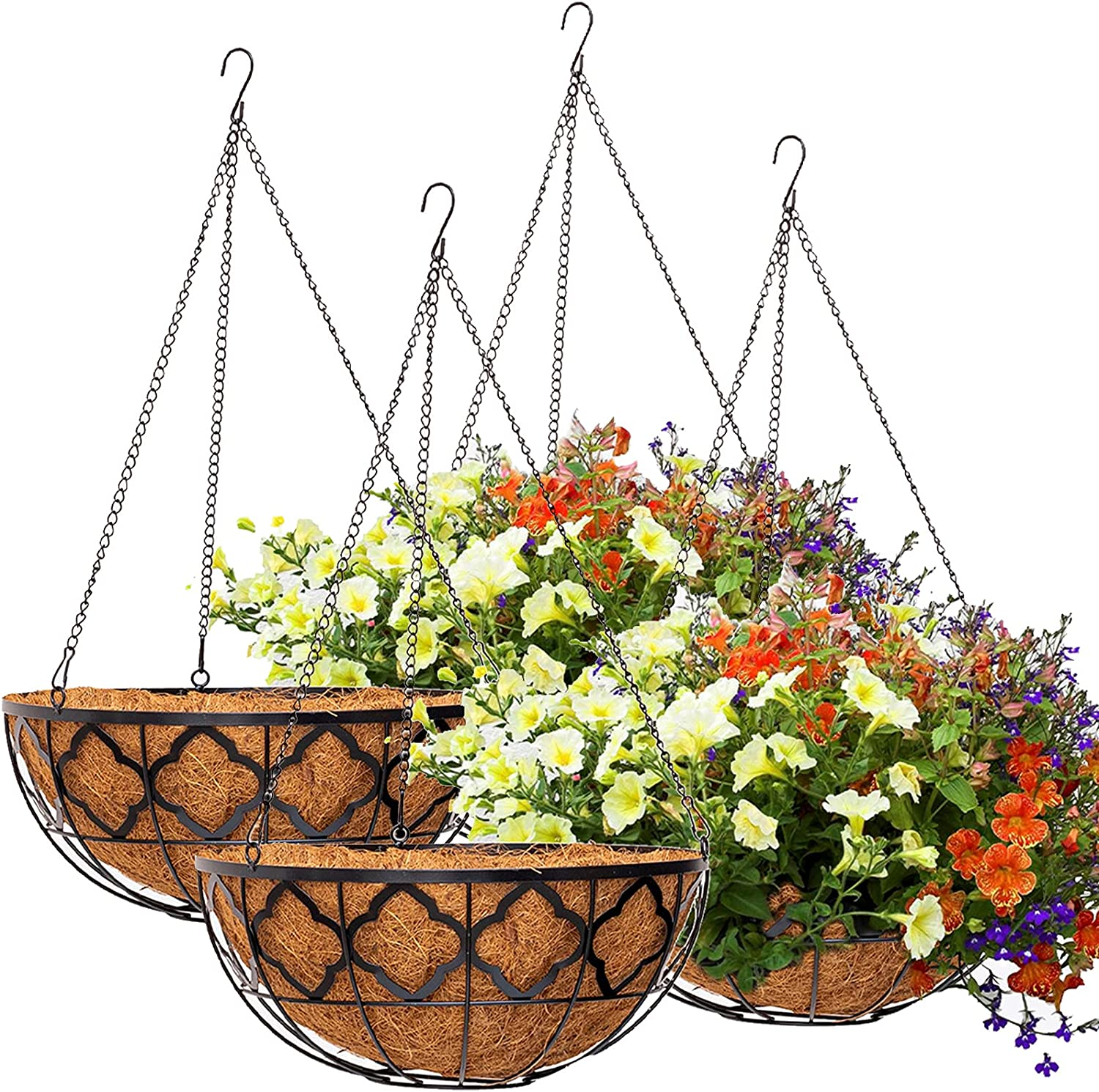 HFHOME 4PCS 14 inch Metal Hanging Planters Basket with Coco Liner,14