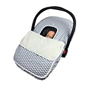 Baby Car Seat Cover Soft Breathable Infant Carseat Canopy Boys and Girls Warm Cozy Filled 100% Cotton Toplined with Sherpa–Any Weather/Season–Premium Quality by Lil Me (Gray Chevron/Sherpa Top)