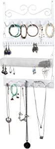 MyGift White Metal Wall-Mounted 4-Tier Jewelry Rack, 18 Hook Earrings, Rings, Necklaces, Bracelets Organizer
