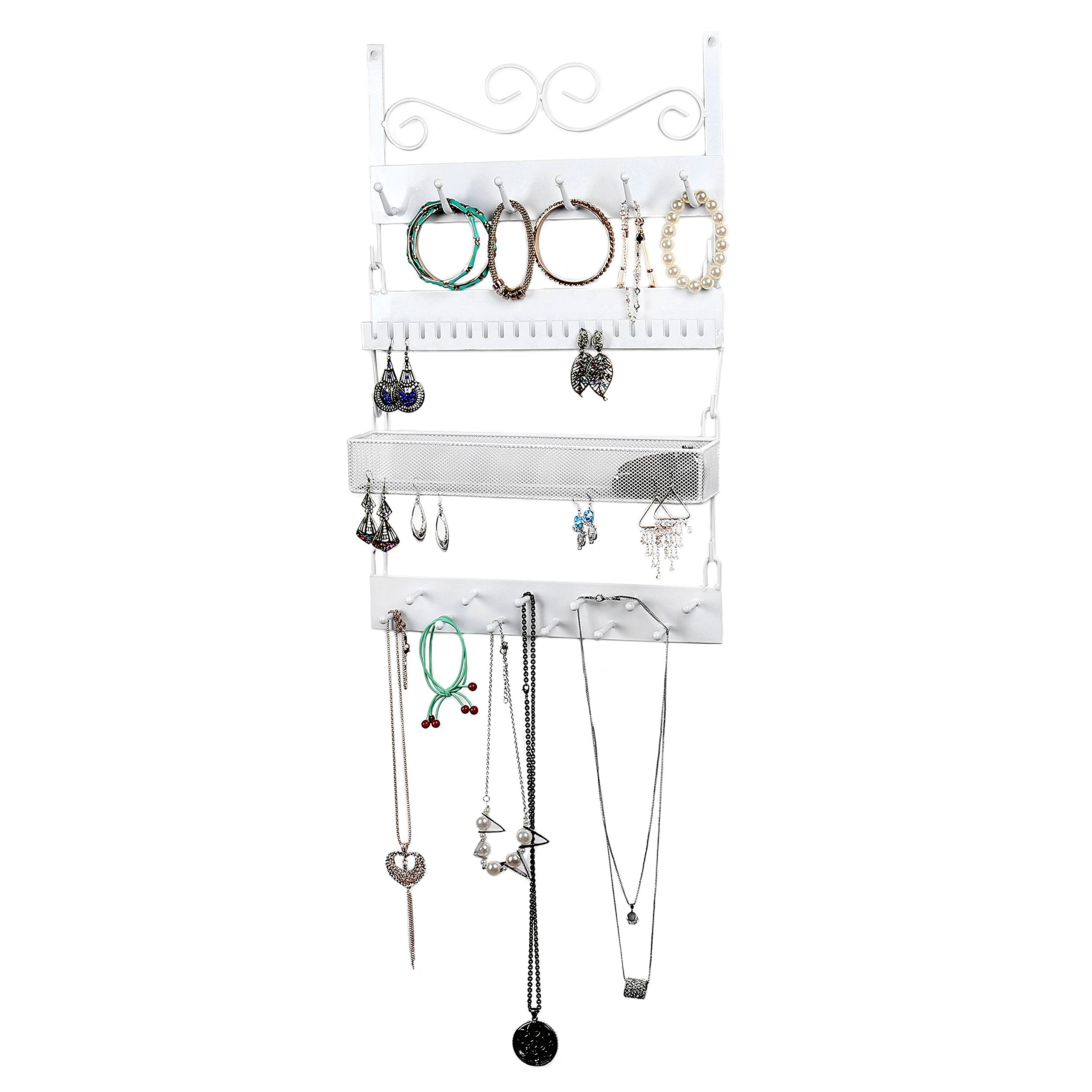White Metal Wall-Mounted 4-Tier Jewelry Rack, 18 Hook Earrings, Rings, Necklaces, Bracelets Organizer