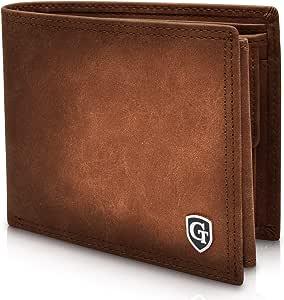 GenTo® Brooklyn Protección RFID y NFC - Billetera de Hombre con Compartimento para Monedas - Cartera espaciosa - Cartera de Hombre - Cartera con Caja de Regalo