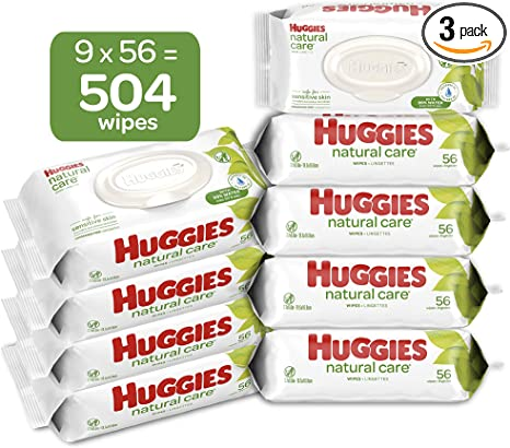 Sensitive 352 Total Wipes HUGGIES Natural Care Unscented Baby Wipes 2 Refill Packs