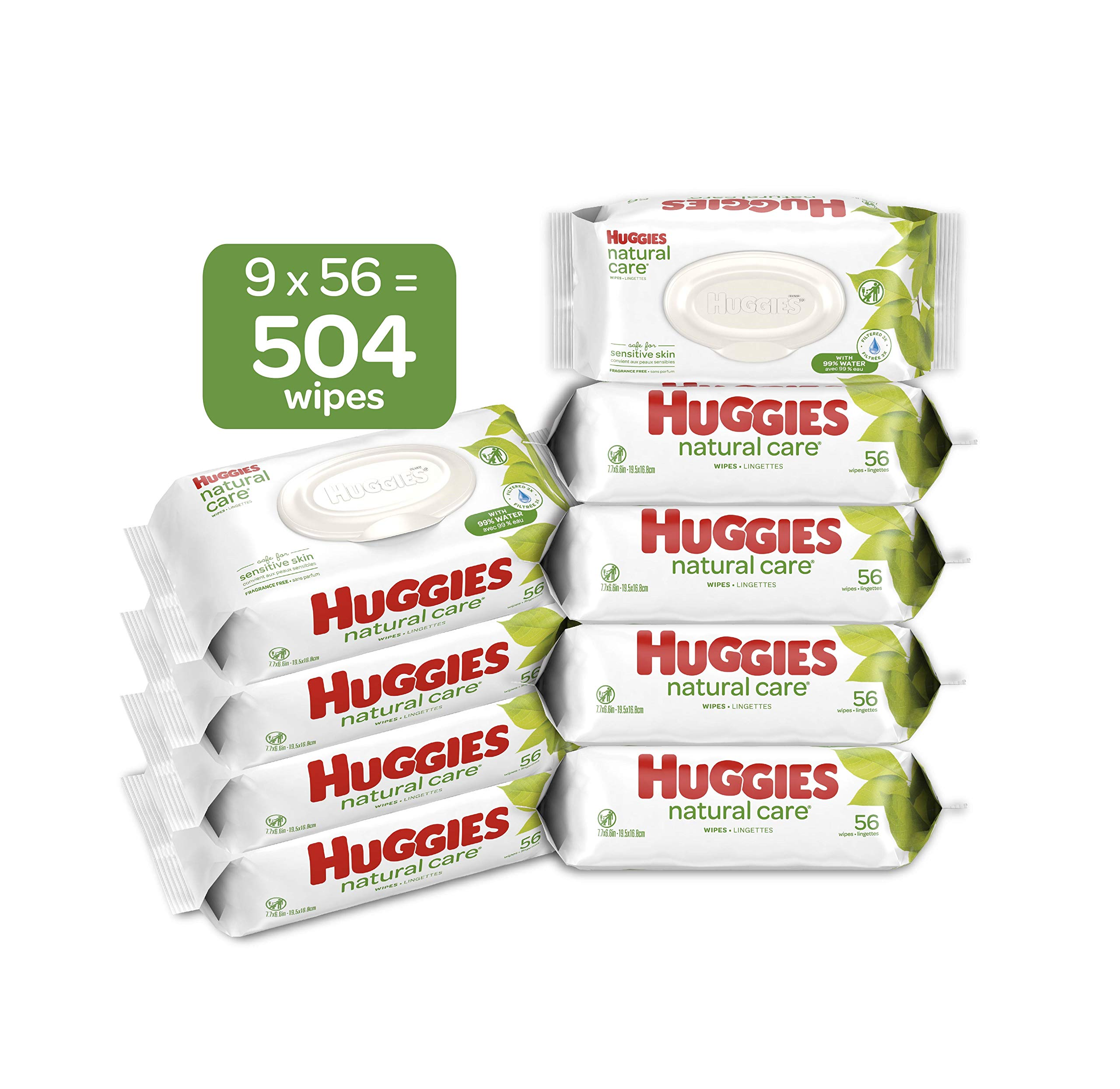 HUGGIES Natural Care Unscented Baby Wipes, Sensitive, Water-Based