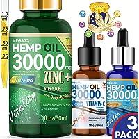 3-Pack Hemp MegaX3 30000 MG Zinc Vitamin Hemp Oil