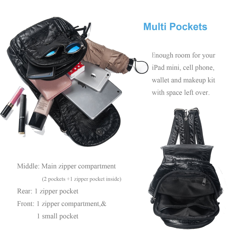 1a07d80fa8 Amazon.com  Katloo Mini Backpack Purse Vegan Leather Casual Daypack Shoulder  Back Pack Sling Bag Women iPad Mini iPhone 8 7 6 Plus Wallet Organizer  Multi ...