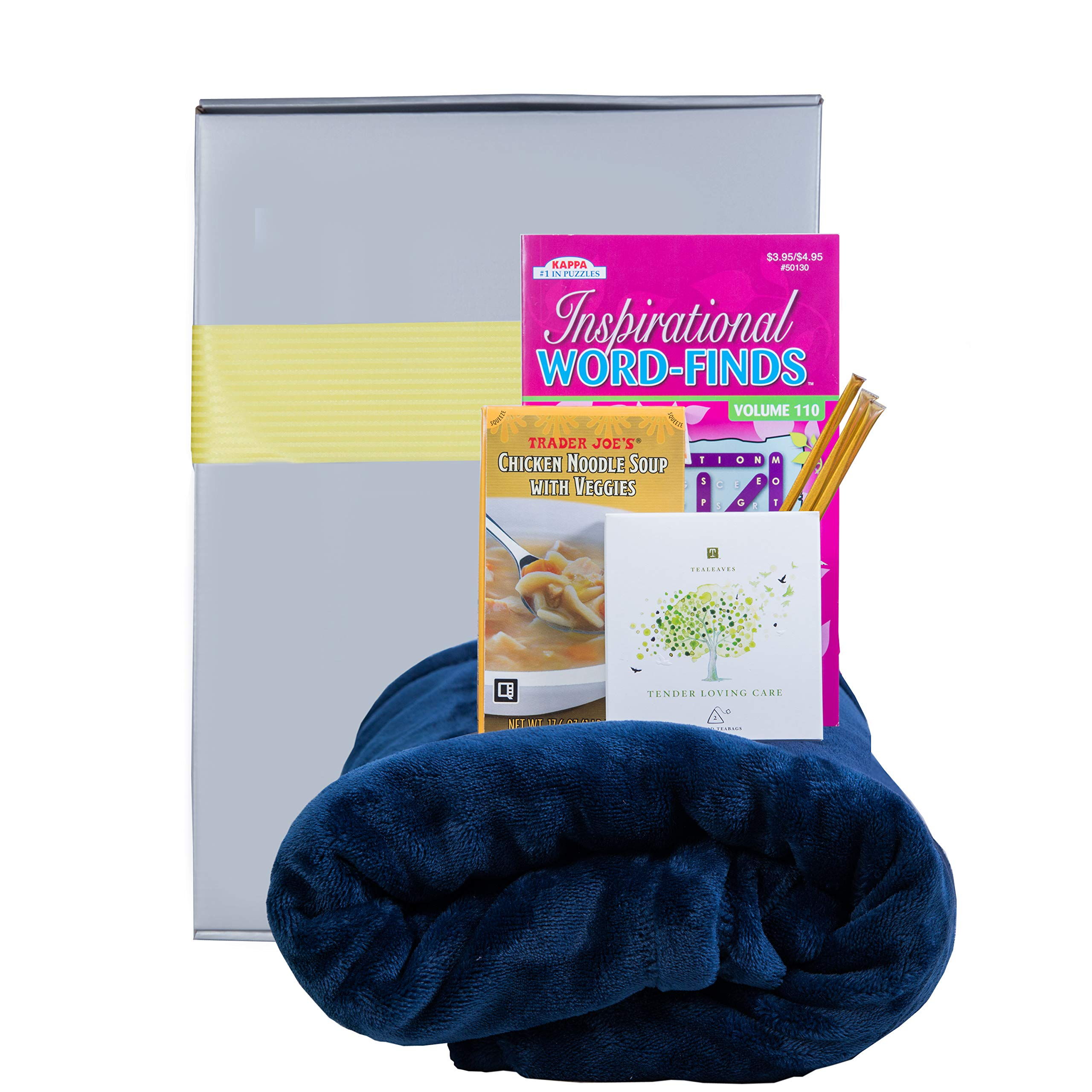 Get Well Gifts Box - Includes Luxury Blanket Organic Tea Soup and Book |Get Well Gift Baskets for Women Men Teens Friends | Get Well Care Package Presented in Beautiful Gift Box With Ribbon