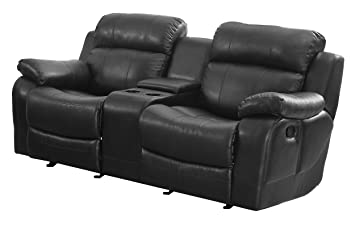 homelegance marille reclining loveseat w center console cup holder black bonded leather