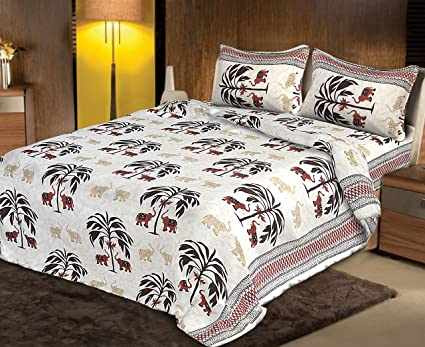 Fecom King Size Rajasthani Jaipuri Traditional Sanganeri Design 100% Cotton Double bedsheet, Bedspread, Bed Cover with Pillow Covers 100X100 (White Brown)