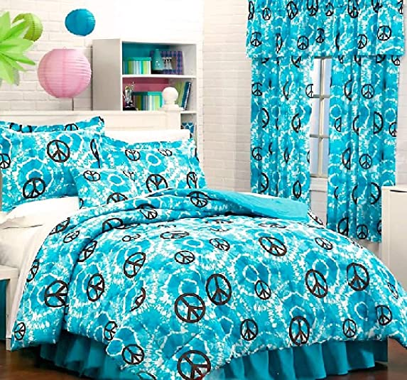 10 Teen Girls Turquoise Tye DYE Peace Sign Comforter Sheet Set Two-Window VALANCES Two Drapery Sets 10 pc Twin Size Pillow NOT Included