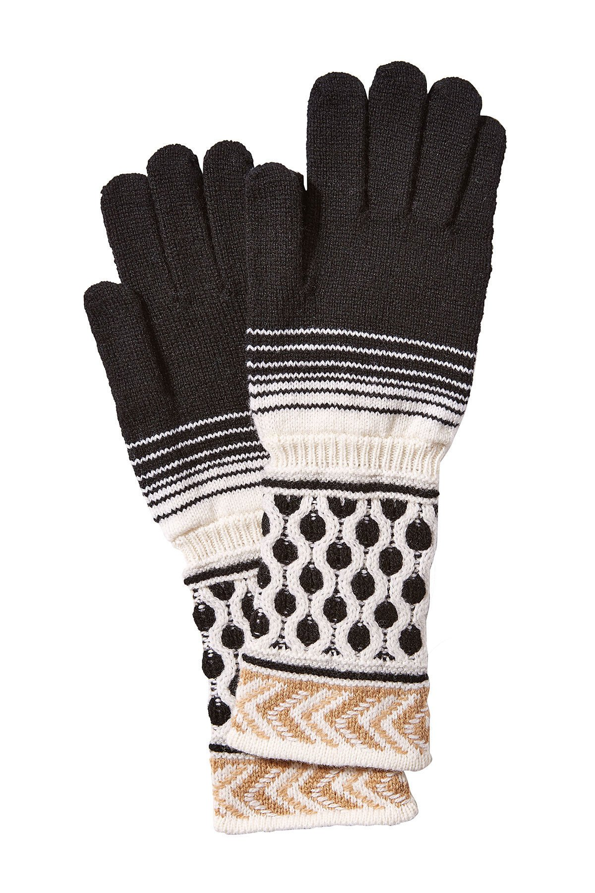 Missoni Black and Tan 100% Wool Gloves M