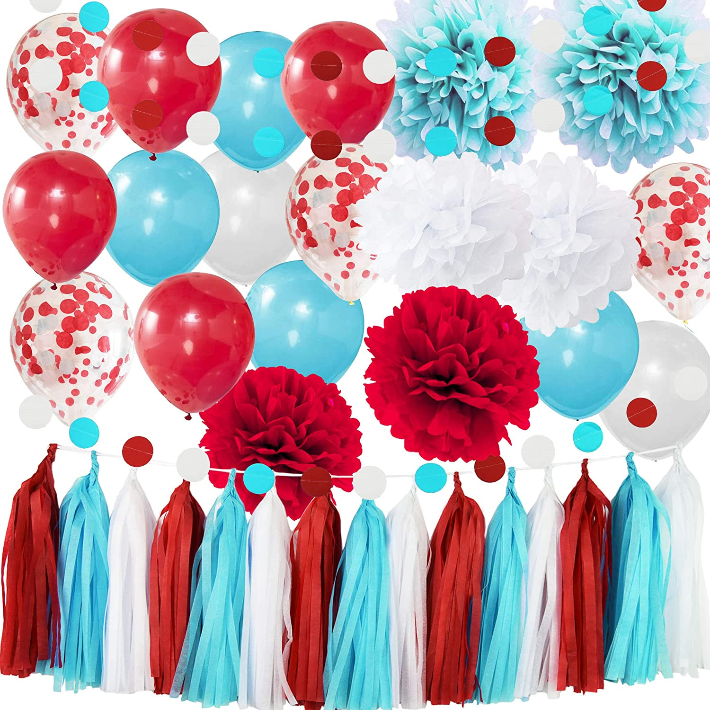 Bridal Shower Decorations Aqua Blue White Confetti Balloons for Nurse Graduation Decorations1st Birthday Party Supplies/ Airplane Party Decor