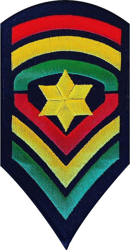 Hierro bordado en Rasta ejército parche sew on Biker Badge galones Star sargento: Amazon.es: Juguetes y juegos