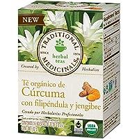 Traditional Medicinals, Té Orgánico De Cúrcuma, Filipéndula Y Jengibre, 32 Gr, 16 Bolsitas De Té