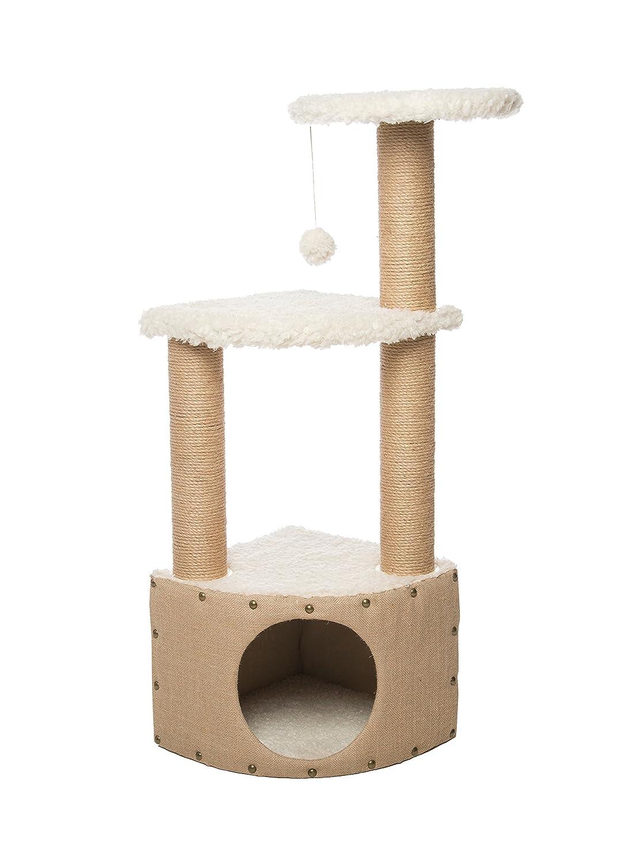 Gor Pets Easy Fix Snug Cat Scratcher, Cat Climbing Tower 37 x 37 x 106 cm (Beige)