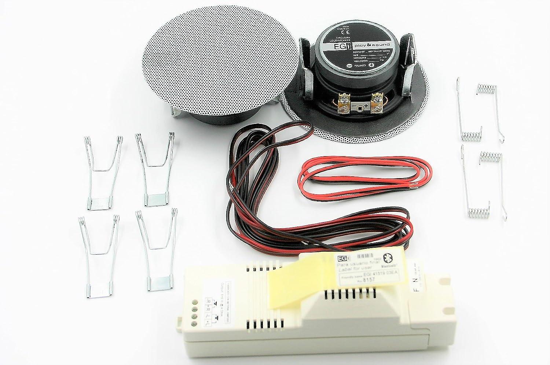Egi Audio Solutions 41021 - Kit de Sonido con Altavoces empotrados y Amplificador Bluetooth, Color Blanco