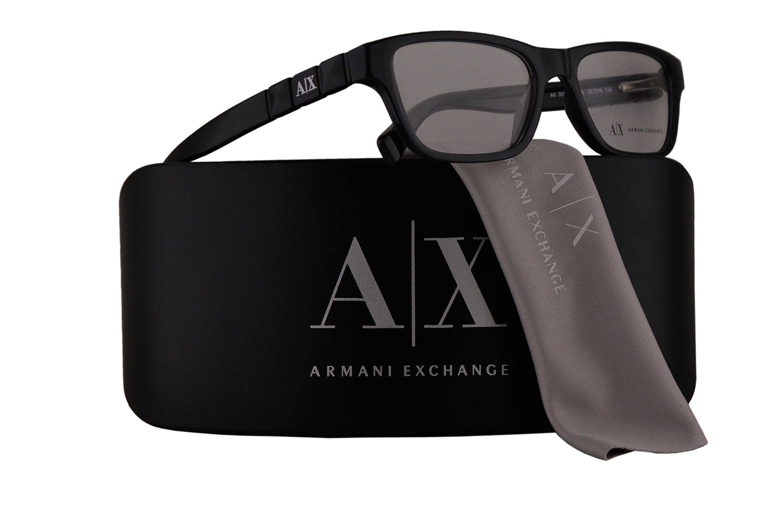 Armani Exchange AX3014 Eyeglasses 52-16-135 Black Transparent w/Demo Clear Lens 8005 AX 3014