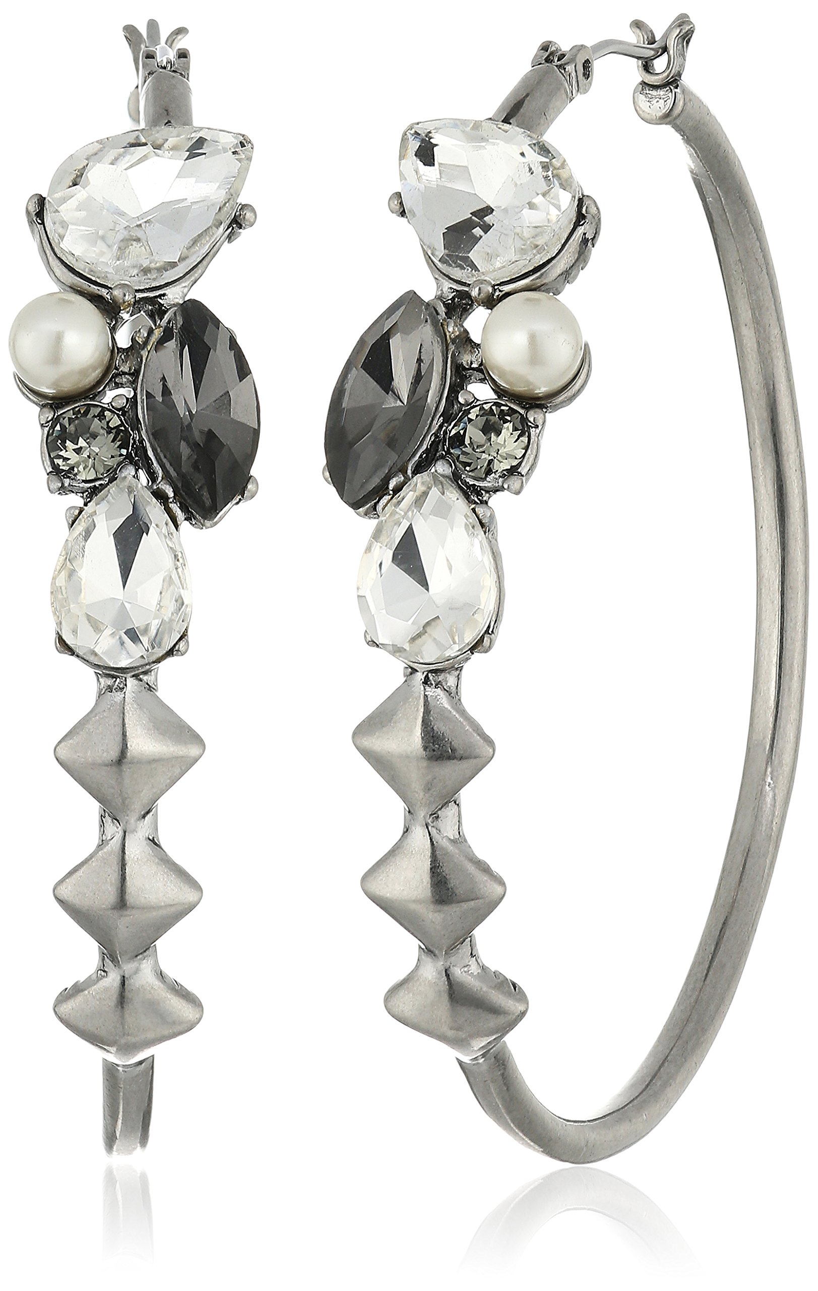 Marc Jacobs ''Resort 2016'' Crystal/Antique Silver Strass Hoop Earrings