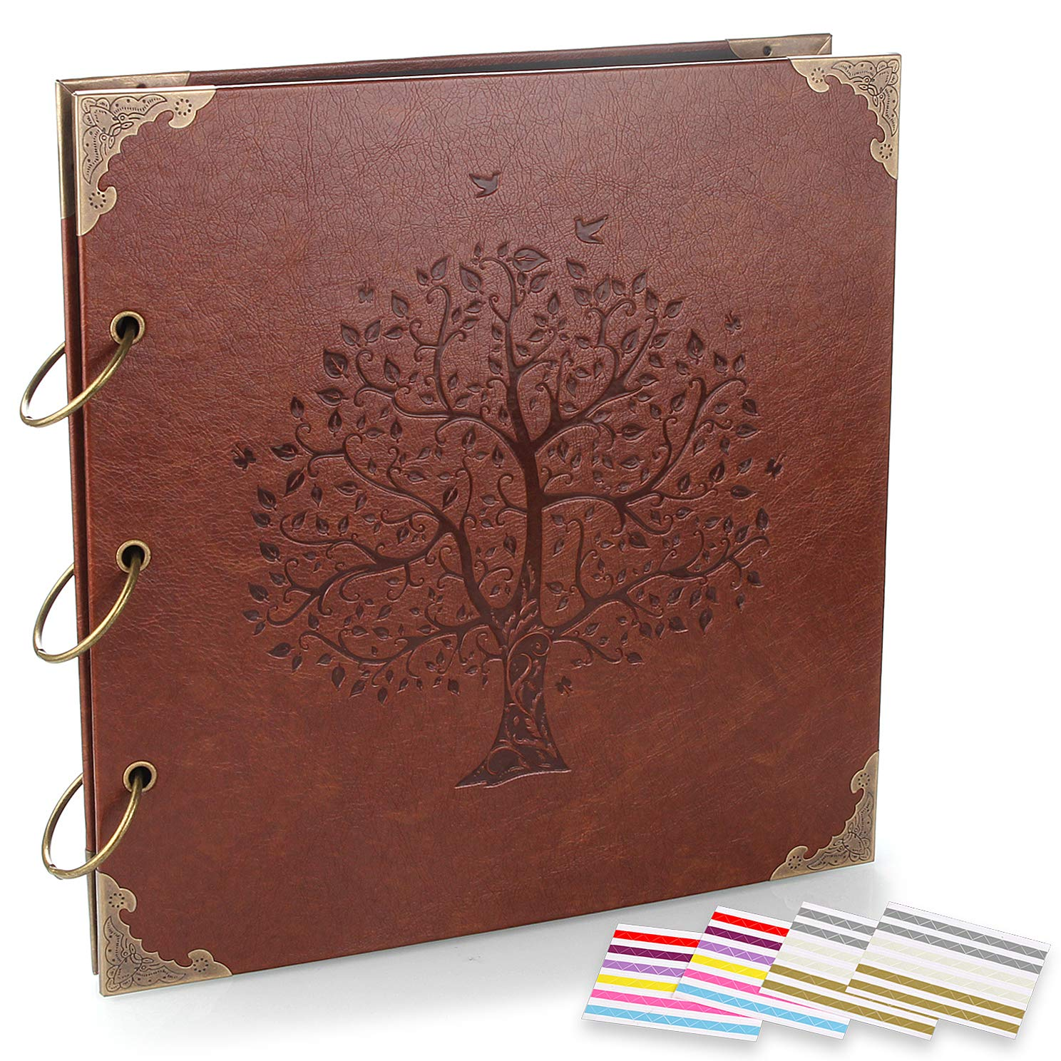 ADVcer Photo Album DIY Scrapbook (10x10 inch 50 Pages Double Sided), Vintage Leather Cover Three-Ring Binder Family Picture Booth with 9 Color 408pcs Self Adhesive Photos Corners for Memory Keep, Tree