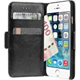 iPhone SE Hülle,Smacho Ledertasche Bookstyle Leder Flip Case Cover Handyhülle Schutzhüll Tasche (iPhone SE/5S/5)