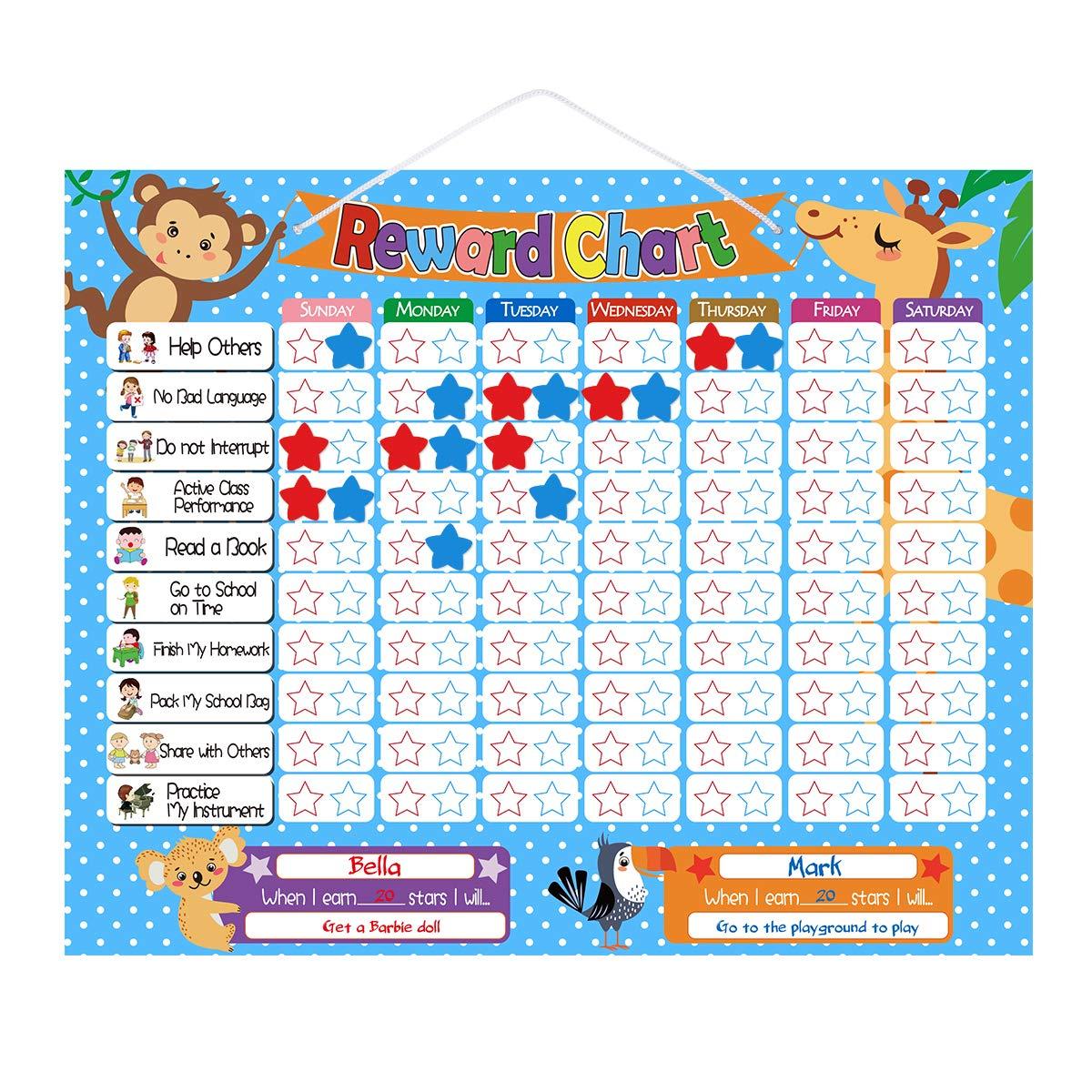 TOYMYTOY Belohnungstafel Kinder Dry Erase Board Magnetischer Sternchenplan Abwischbare Belohnungssystem Wochenplaner Brett mit Geschenkbox Kinder Vorschule Geburtstage
