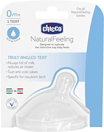 Chicco Natural Feeling–Tetina Flujo Lento, Zero Plus meses, Pack de 1