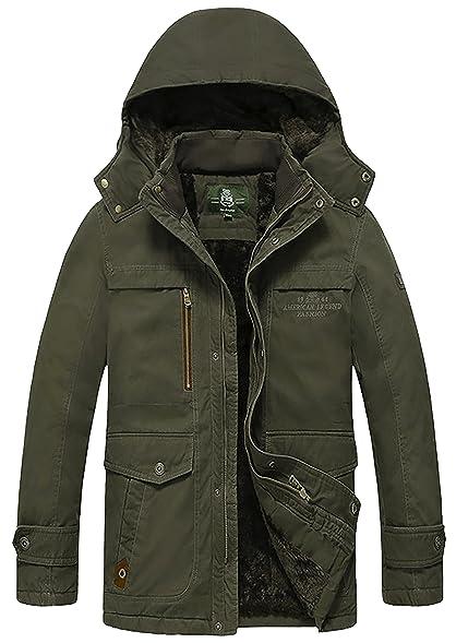 HengJia Mens Plus Size Outdoor Winter Coat Military Parka Jacket ...