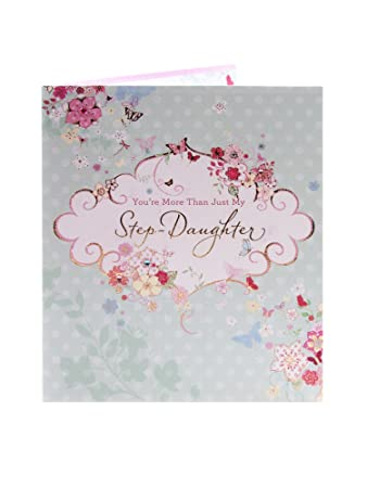 Happy Birthday Card Ornate Jewelled Card Step Daughter Amazon