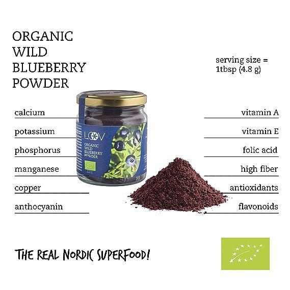 Arándano Azul Silvestre Orgánico en Polvo (Wild Blueberries), 100 g, Obtenido Únicamente a Partir de Cáscaras y Semillas de Bayas, Sin Aditivos, ...