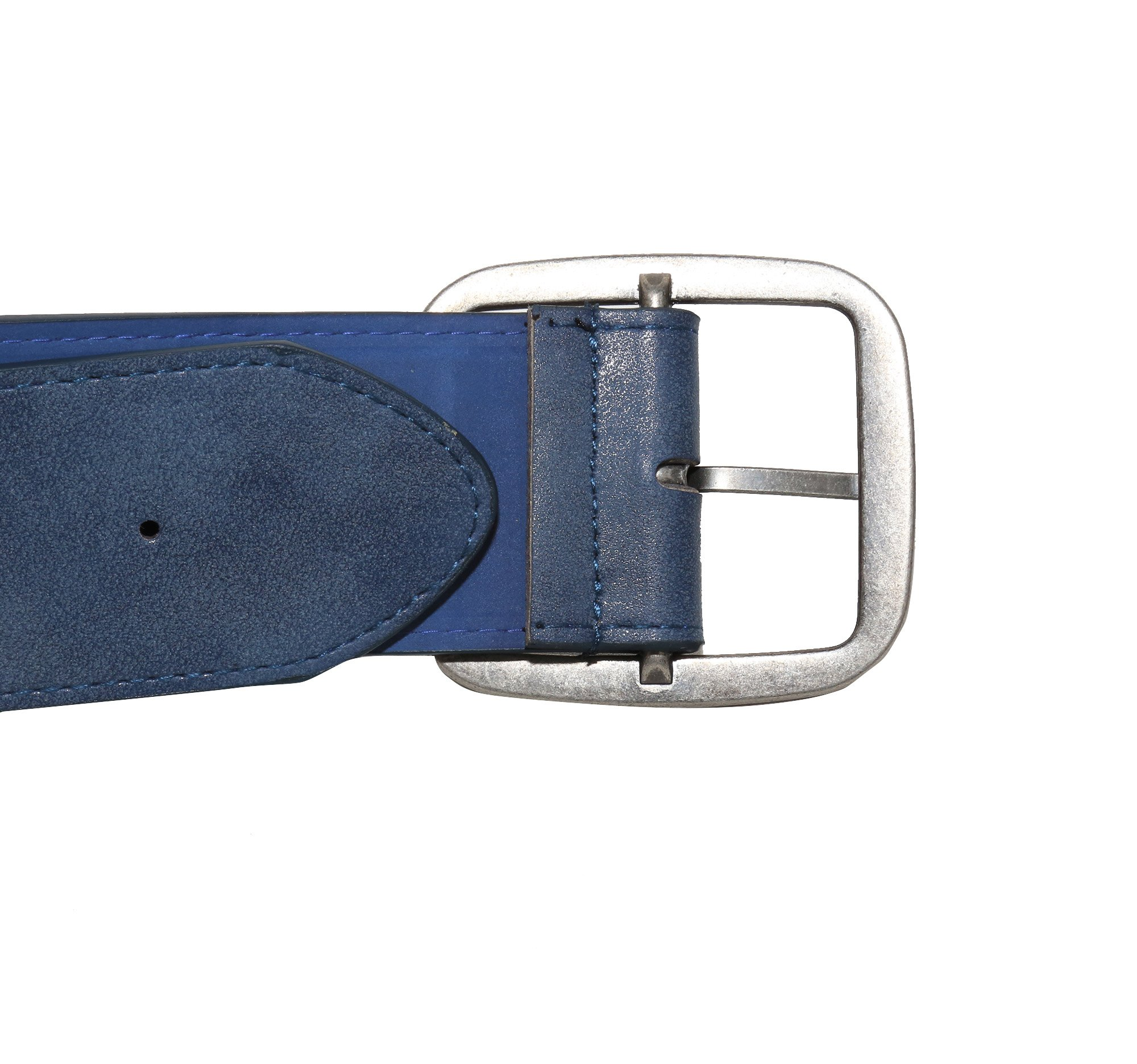 Modeway Women 2'' Wide Suede Leather Silver Square Buckle Adjustable Waist Belts (S-M, Navy-4#) by Modeway (Image #6)