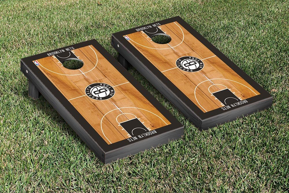 Brooklyn BKN Nets NBA Basketball Regulation Cornhole Game Set Basketball Court Version by Victory Tailgate